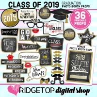 Class of 2019 Photo Props - Black, Gold