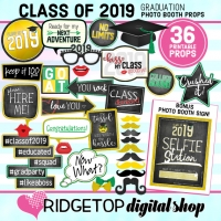 Class of 2019 Photo Props - Green Yellow