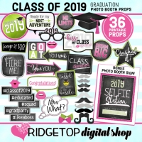 Ridgetop Digital Shop | Class of 2019 Photo Props - Pink, Lime | Graduation Photo Booth