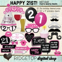 Ridgetop Digital Shop | 21st Birthday Photo Booth Props