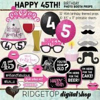 Ridgetop Digital Shop | 45th Birthday Photo Booth Props