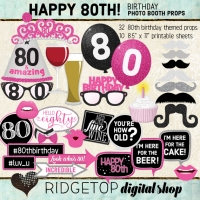 Ridgetop Digital Shop | 80th Birthday Photo Booth Props