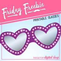Purple Heart Printable Glasses
