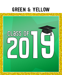 Ridgetop Digital Shop | Class of 2019 Photo Booth Printables | Green Yellow